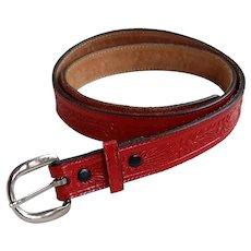 Vintage Embossed Red Leather Belt