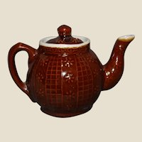 Tiny Brown Betty Raised Decoration Teapot