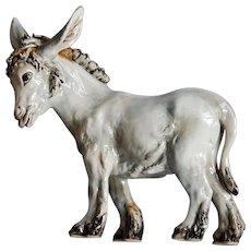 Capodimonte Style Ceramic Donkey Figure Signed Italy