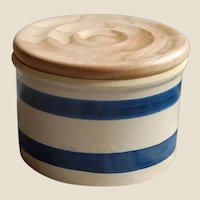 Vintage Crock with Blue Stripes and New Lid