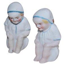 2 Bisque Potty Boy Babies