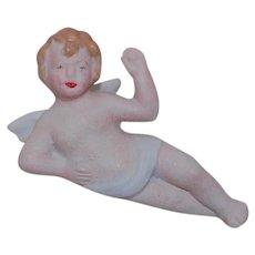 Reclining Bisque Angel Figurine