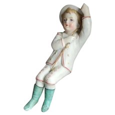 Bisque Figural Boy on a Rope Oil Lamp Swinger
