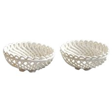 Max Roesler Woven Reticulated Porcelain Basket Bowls