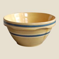 Vintage Yellow Ware Bowl Stoneware Blue and White Bands