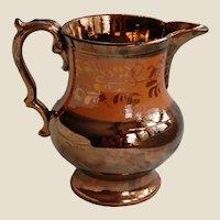 Copper Luster Medium Pitcher 19th Century