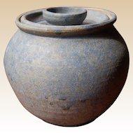 Modern Signed Matte Blue Covered Pottery Jar