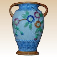 Floral Basket Weave Urn Vase Japan