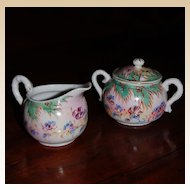 Oriental Bone China Sugar and Creamer Hand Painted