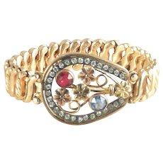 Carmen Expansion Bracelet Horseshoe and Forget-me-not DFB Co. Vintage