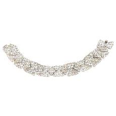 Bogoff Rhinestone Bracelet Vintage Sparkling Hourglass and Diamond Shape