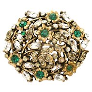 30942a - Signed Hollycraft 1950 Green Emerald Flower Stones & Clear Oval Brooch