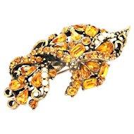 31869a - Signed HOLLYCRAFT 1953 Topaz Stones & Creamy Pearls Brooch/Pin