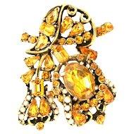 31872a - Signed HOLLYCRAFT 1953 Topaz Stones & Creamy Pearls Brooch/Pin