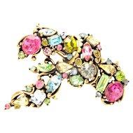 32205a - Signed Hollycraft 1953 Multi Color Pastel Color Stones Big Brooch Pin