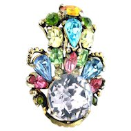 32211a - Hollycraft 1953 Multi Color Pastel Stones with Huge Center Stone Brooch