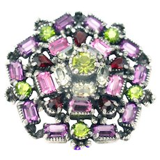32308a - Hollycraft 1954 Purple Green Rose Red Yellow Pentagone Shape Brooch