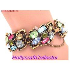 32361a - Signed HOLLYCRAFT 1953 Multi Color Pastel Six Links Bracelet