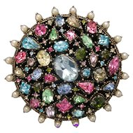 32382a - Signed Hollycraft 1951 Color Pastel Stones & Faux Pearls Huge Brooch