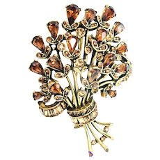 32489a - Signed Hollycraft 1957 Amber Colored Bouquet Shaped Brooch/Pin