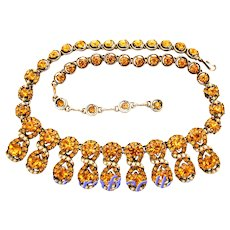 32515a - Signed HOLLYCRAFT 1953 Topaz & Creamy Split Simulated Pearl Necklace