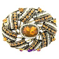 32728a - Signed HOLLYCRAFT 1954 Egg Shape Topaz & Seed Pearls Brooch/Pin