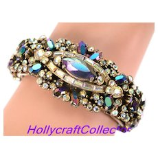 32834a - Signed Hollycraft 1956 Black/Blue AB & Clear Crystal AB Double Hinged Bracelet