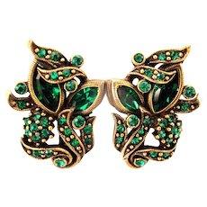 32878a - Signed Hollycraft 1950 Green Emerald Screw Back Earrings