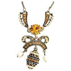 33339a - Signed HOLLYCRAFT 1954 Easter Egg Topaz & Pearls Dangling Necklace