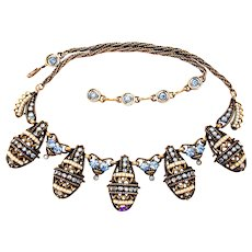 33353a - Signed HOLLYCRAFT 1954 Light Sapphire Stones & Pearl Seed Beads Necklace