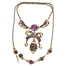 33369a - Signed HOLLYCRAFT 1954 Easter Egg Purple & Pearls Dangling Necklace