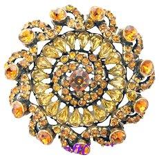 33375a - Signed HOLLYCRAFT 1954 Light & Dark Topaz Color Stones Round Brooch/Pin