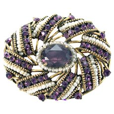 33384a - Signed HOLLYCRAFT 1954 Egg Shape Amethyst & Seed Pearls Brooch/Pin