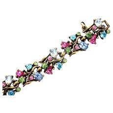33394a - Signed Signed Hollycraft dated 1950 Multi Color Pastel Bracelet