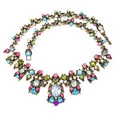 33403a - Signed Hollycraft 1950 Multi Color Pastel Huge BIB Drape Necklace