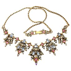 33405a - Signed Hollycraft 1950 Pink Flower & Oval Blue Stones Drip Necklace