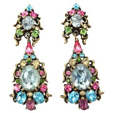 33408a - Signed HOLLYCRAFT 1950 PaSTeL Color Rhinestones Dangle/Drop Earrings