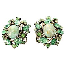33414a - Signed Hollycraft 1951 Peridot Green Stones & Opal Cabochon Earrings