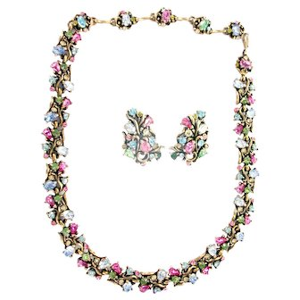 33432a - Signed HOLLYCRAFT 1950 Pastel Colored Choker Necklace & Earrings Set