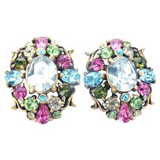 33441a -  Signed Hollycraft 1950 Pastel Color Rhinestones Screw Back Earrings