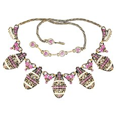 33451a -Signed HOLLYCRAFT 1954 Pink Rhinestones & Pearl Seed Beads Necklace