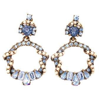 33813a - Signed HOLLYCRAFT 1953 Light Blue & Half Pearls Drop Dangle Earrings