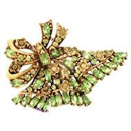 33880a - Hollycraft 1950 Jonquil Flower & Navette Peridot Stones HUGE FAN Brooch