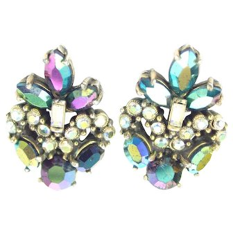 34123a - Hollycraft 1956 Peacock AB & Clear AB Stones Screw Back Earrings Set