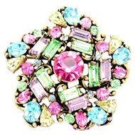 34149a - Signed Hollycraft 1953 Multi Color Pastel Pin Wheel Brooch/Pin