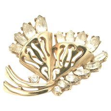 34165a - Signed Hollycraft 1952 Clear Navette Rhinestones Brooch/Pin