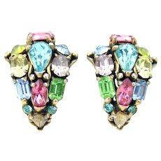 34217a - Signed Hollycraft 1953 Multi Color Pastel Stones Screw Back Earrings