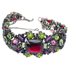 34238a - Signed Hollycraft 1954 Purple Green Rose Red Yellow Bracelet 2 die 4