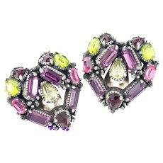 34247a - Hollycraft 1954 Purple Green Rose Red Yellow Heart Shaped Clip Earrings
