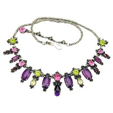 34269a - Signed HOLLYCRAFT 1954 Purple Green Rose Red Yellow Necklace